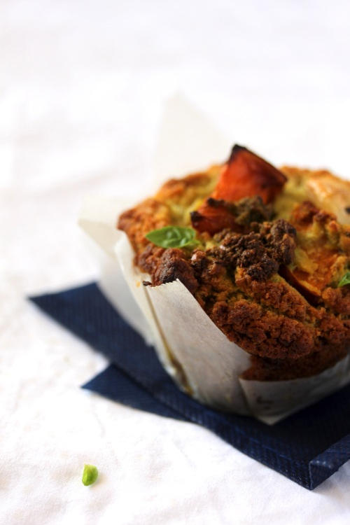 roasted pumpkin and pesto muffin