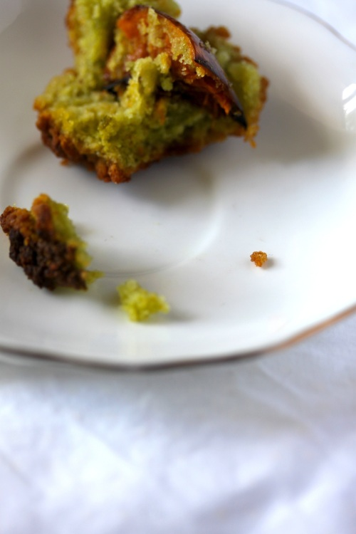 crumbled pesto muffin
