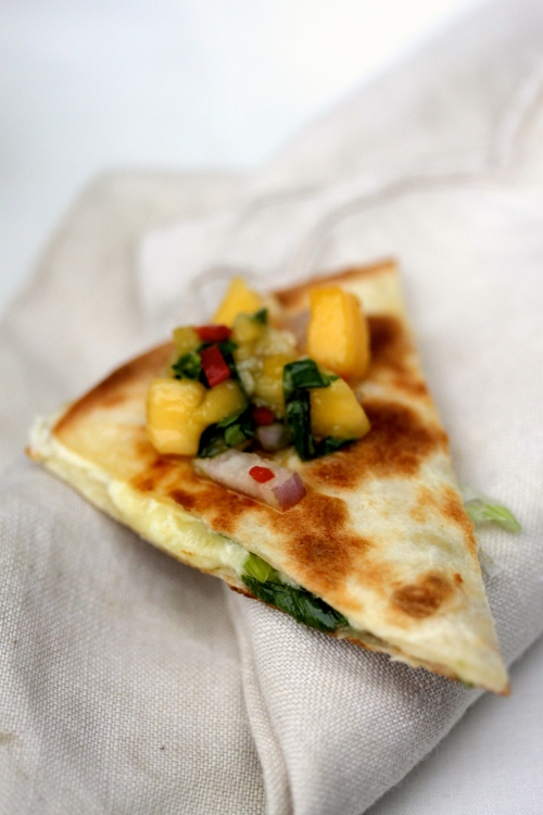 three-cheese quesadilla